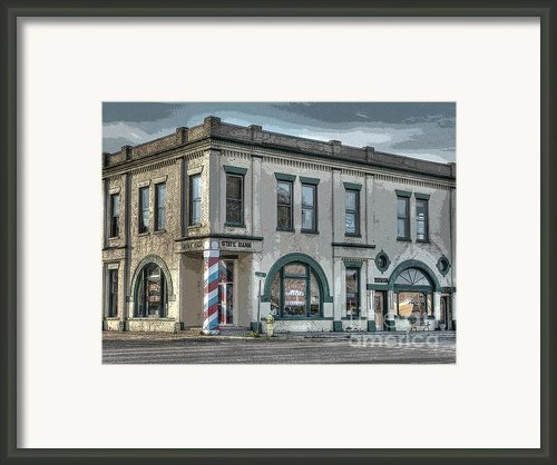 Bank To Barbershop Framed Print By Mj Olsen