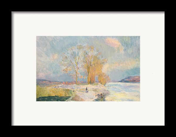 Banks Of The Seine And Vernon In Winter Framed Print By Albert Charles Lebourg
