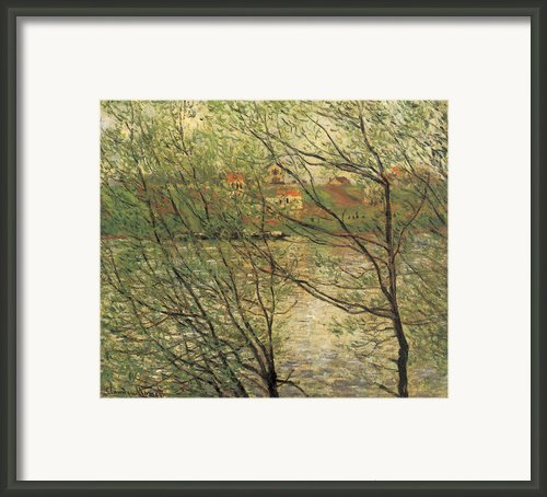 Banks Of The Seine Island Of La Grande Jatte Framed Print By Claude Monet