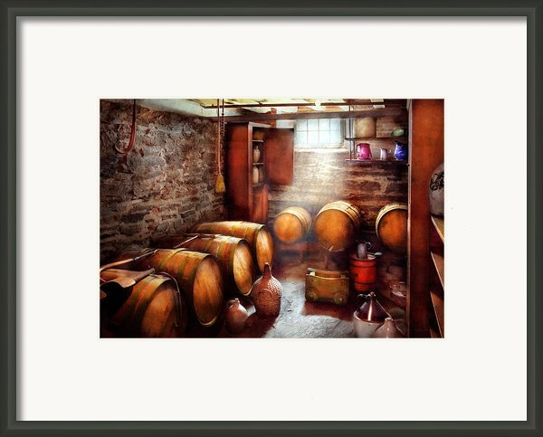 Bar - Wine - The Wine Cellar  Framed Print By Mike Savad