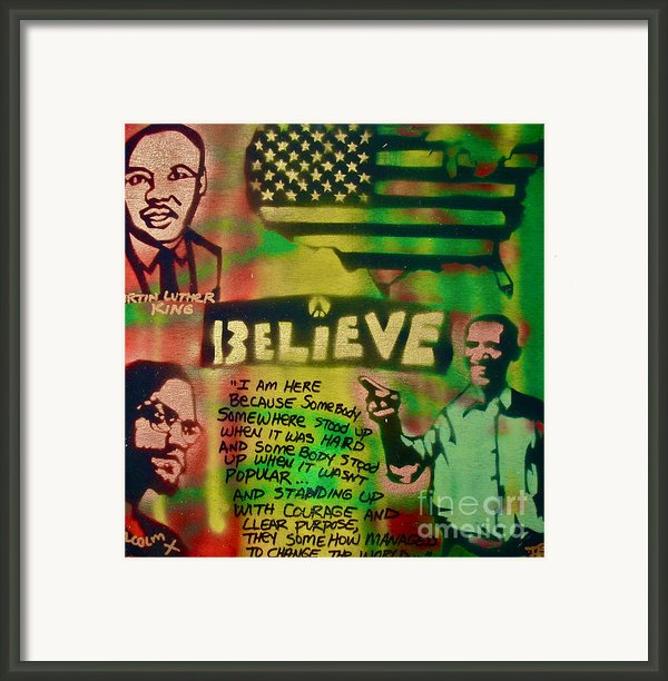 Barack And Martin And Malcolm Framed Print By Tony B Conscious