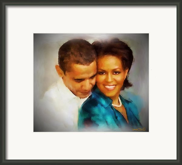 Barack And Michelle Framed Print By Wayne Pascall