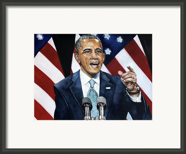 Barack Obama  Framed Print By Michael  Pattison