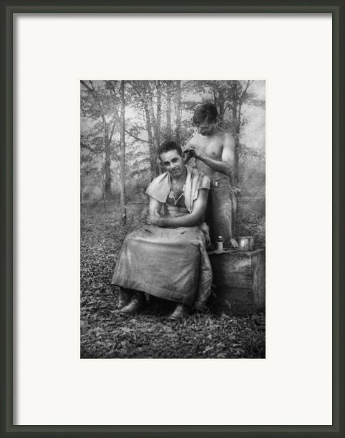 Barber - Wwii - Gi Haircut Framed Print By Mike Savad