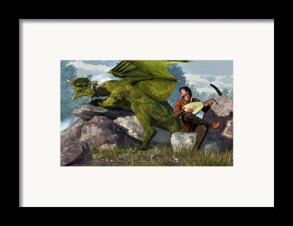 Bard And Dragon Framed Print By Daniel Eskridge