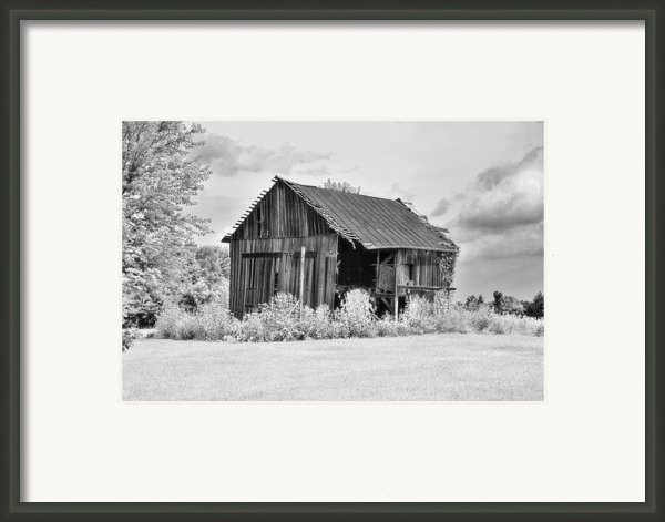 Barn Half Open Framed Print By C Wayne Hennebert