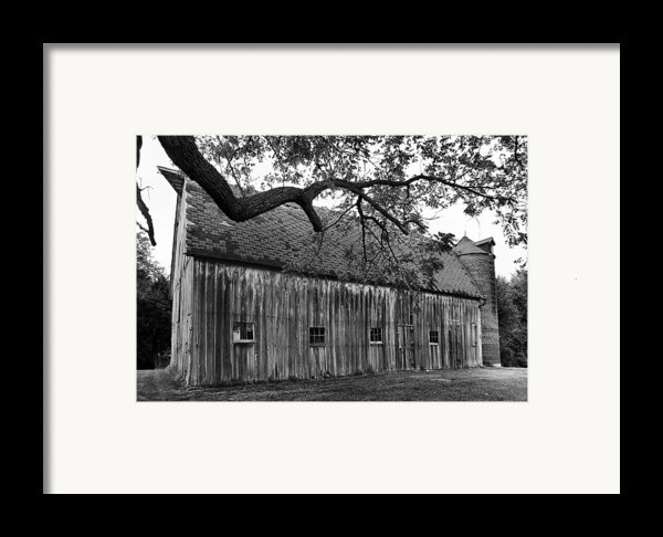Barn With Brick Silo In Black And White Framed Print By Julie Dant
