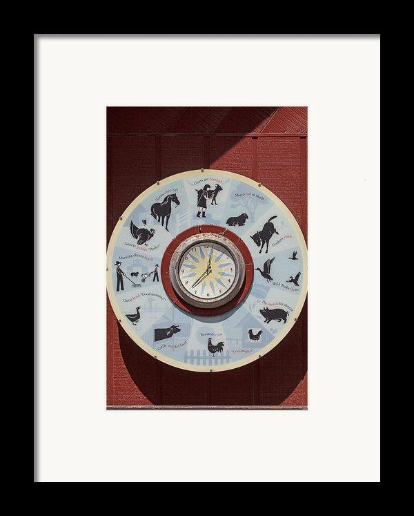 Barn Yard Clock Framed Print By Garry Gay