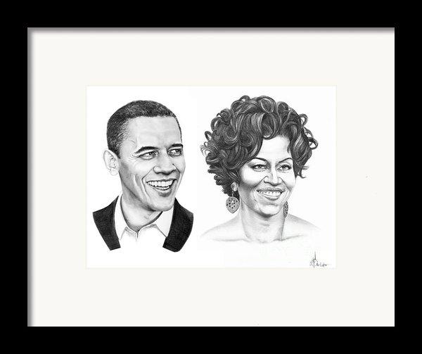 Barrack And Michelle Obama Framed Print By Murphy Elliott