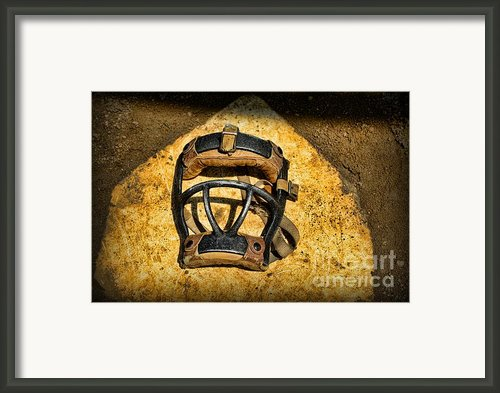 Baseball Catchers Mask Vintage  Framed Print By Paul Ward
