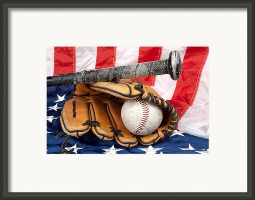 Baseball Equipment On American Flag Framed Print By Joe Belanger