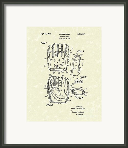 Baseball Glove 1970 Patent Art Framed Print By Prior Art Design
