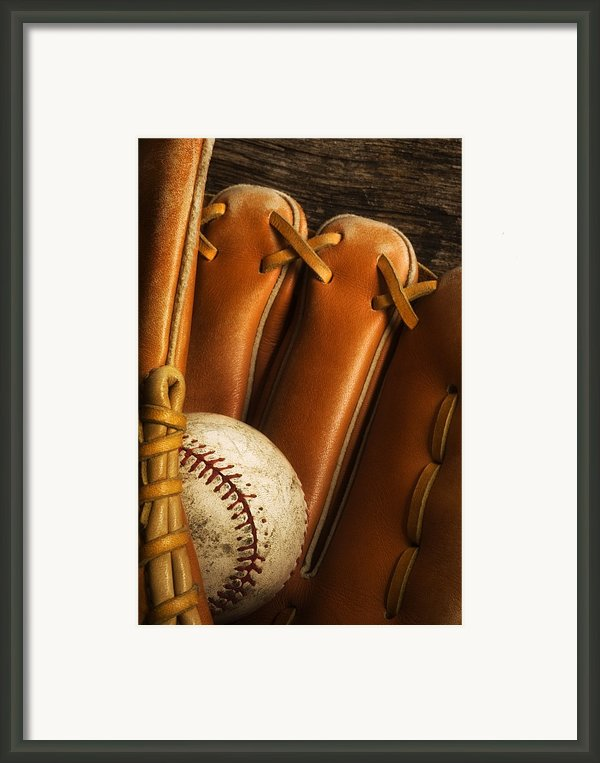 Baseball Glove And Baseball Framed Print By Chris Knorr