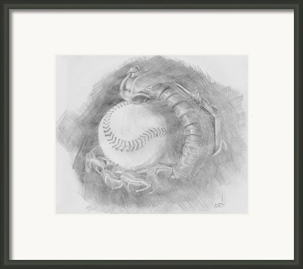 Baseball Glove Framed Print By Michele Engling