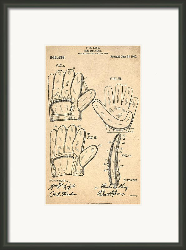 Baseball Glove Patent 1910 Framed Print By Digital Reproductions