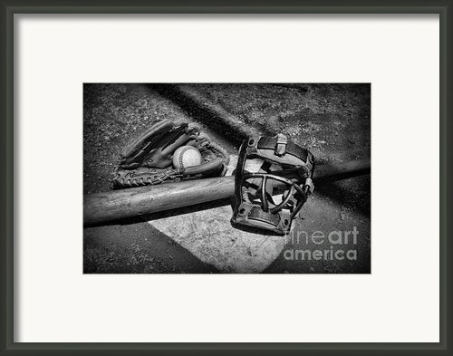Baseball Play Ball In Black And White Framed Print By Paul Ward