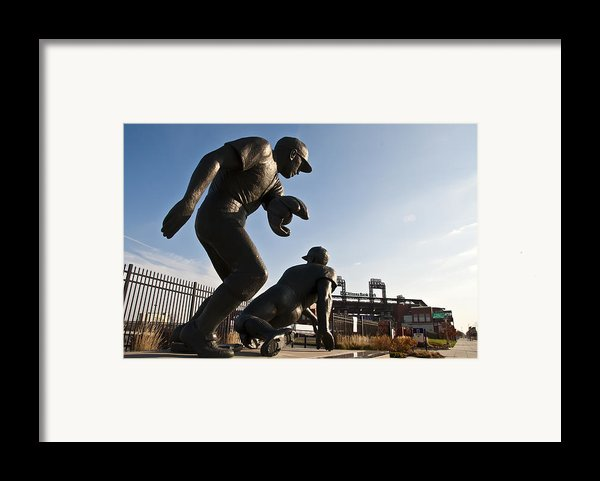 Baseball Statue At Citizens Bank Park Framed Print By Bill Cannon
