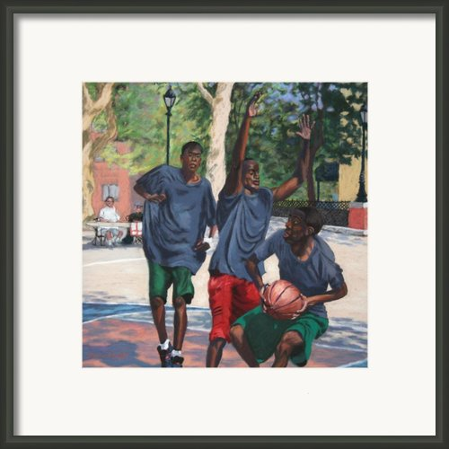 Basketball Action Framed Print By Marion Derrett