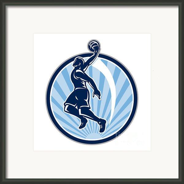 Basketball Player Dunk Ball Retro Framed Print By Aloysius Patrimonio