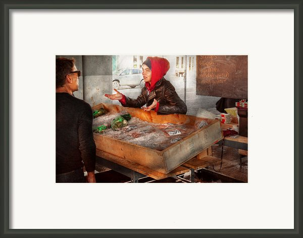 Bazaar - I Sell Fish  Framed Print By Mike Savad