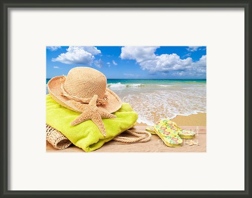 Beach Bag With Sun Hat Framed Print By Christopher And Amanda Elwell