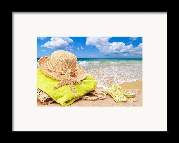Beach Bag With Sun Hat Framed Print By Amanda And Christopher Elwell