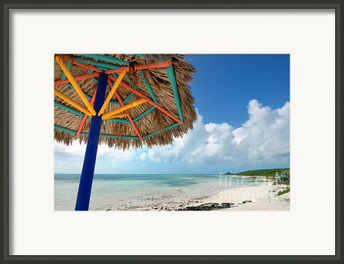 Beach Umbrella At Coco Cay Framed Print By Amy Cicconi