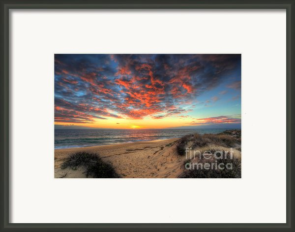 Beachcombers Sunset Framed Print By Nigel Hamer