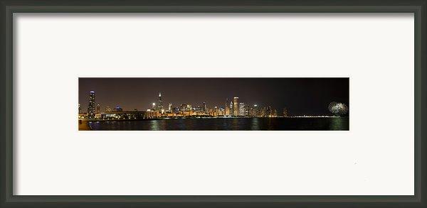 Beautiful Chicago Skyline With Fireworks Framed Print By Adam Romanowicz