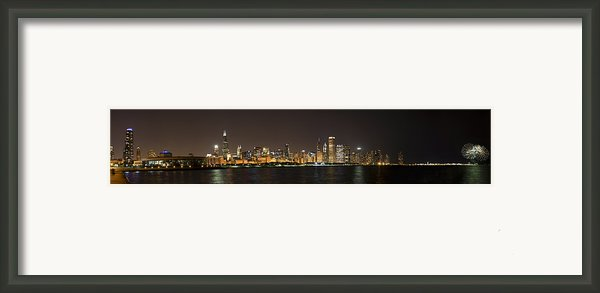 Beautiful Chicago Skyline With Fireworks Framed Print By Adam Romanowicz