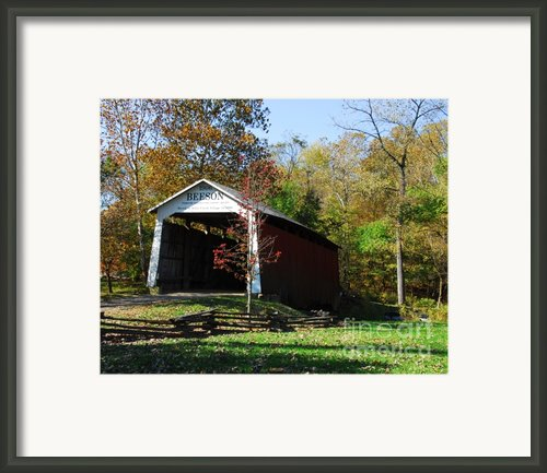 Beeson Covered Bridge 2 Framed Print By Mel Steinhauer