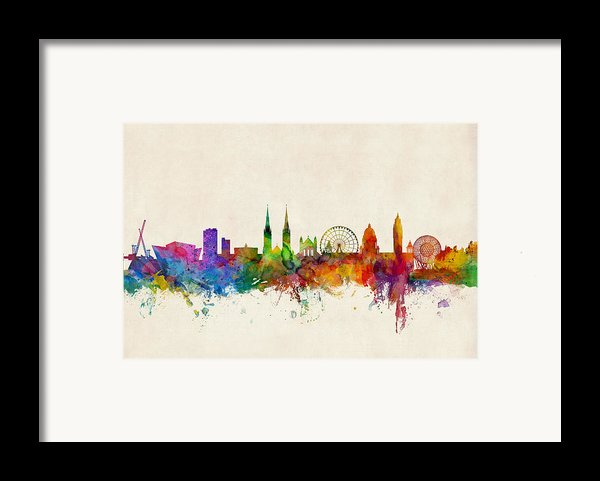 Belfast Northern Ireland Skyline Framed Print By Michael Tompsett