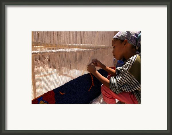 Berber Girl Working On Traditional Berber Rug Ait Benhaddou Southern Morocco Framed Print By Artphoto-ralph A  Ledergerber-photography