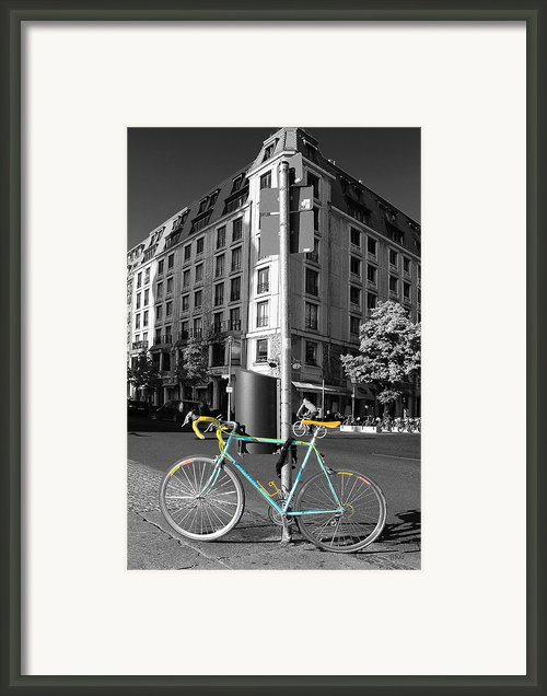 Berlin Street View With Bianchi Bike Framed Print By Ben And Raisa Gertsberg