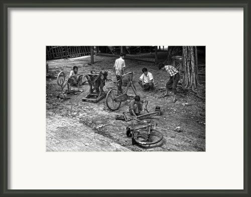 Bicycle Repair In Amarapura Framed Print By Ricardmn Photography