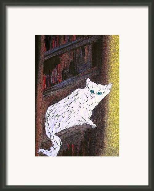 Big Cat In Bookcase Framed Print By Kevin Oechsli