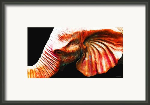 Big Red - Elephant Art Painting Framed Print By Sharon Cummings