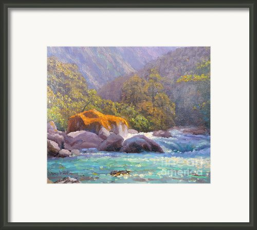 Big Rocks Holyford River Framed Print By Terry Perham