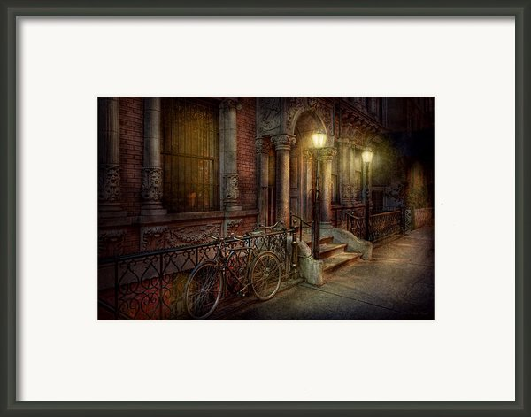 Bike - Ny - Greenwich Village - In The Village  Framed Print By Mike Savad