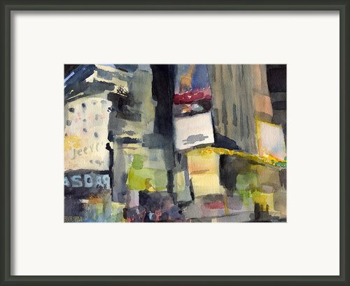 Billboards Times Square At Night Watercolor Painting Of Nyc Framed Print By Beverly Brown Prints