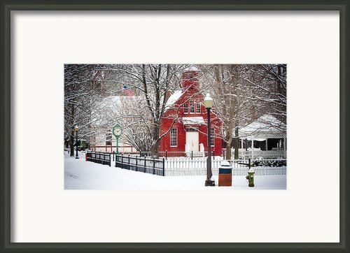 Billie Creek Village Winter Scene Framed Print By Virginia Folkman