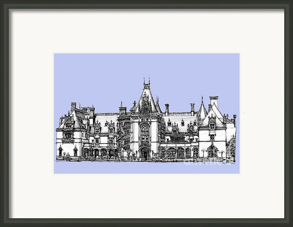 Biltmore Estate In Light Blue Framed Print By Lee-ann Adendorff