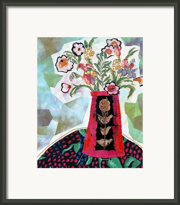 Bird Blossom Vase Framed Print By Diane Fine