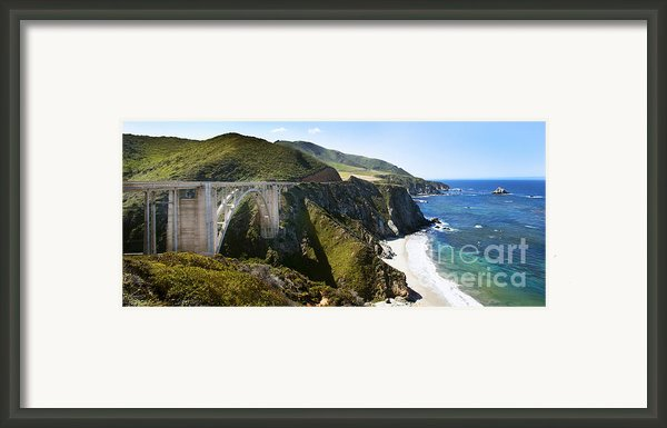 Bixby Bridge Near Big Sur On Highway One In California Framed Print By Artist And Photographer Laura Wrede