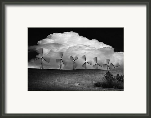 Black And White Of Wind Generators With Framed Print By Don Hammond
