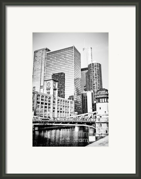 Black And White Picture Of Chicago At Lasalle Bridge Framed Print By Paul Velgos