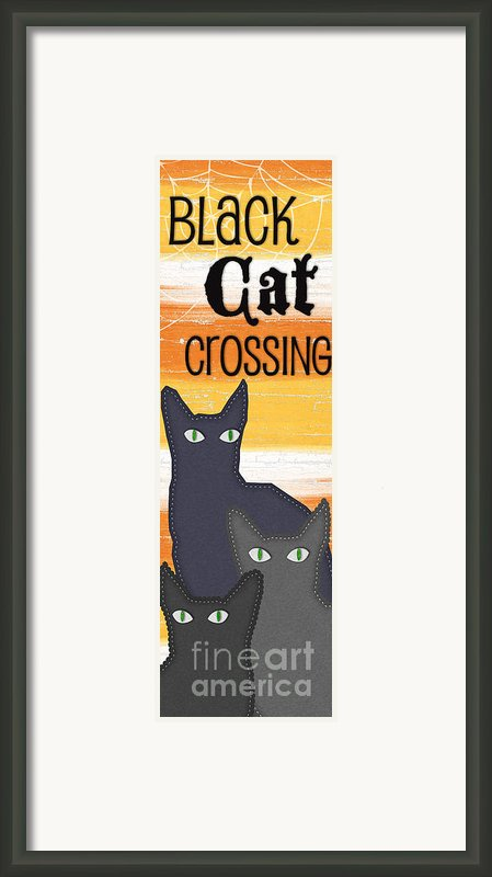 Black Cat Crossing Framed Print By Linda Woods