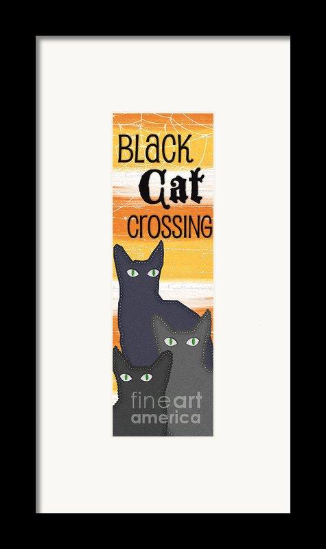 Black Cat Crossing Framed Print By Linda Woods