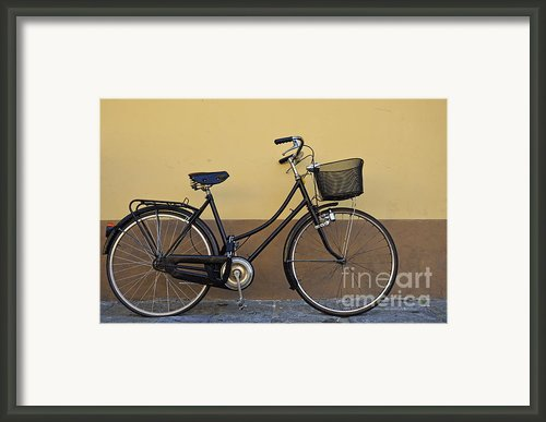 Black Woman Bicycle On Wall Framed Print By Sami Sarkis