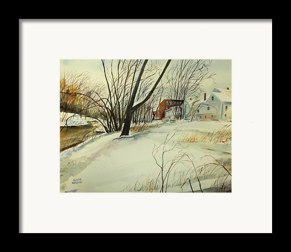 Blackstone River Snow  Framed Print By Scott Nelson